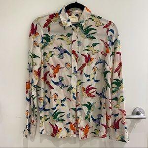 MAEVE by ANTHROPOLOGI silk button up shirt